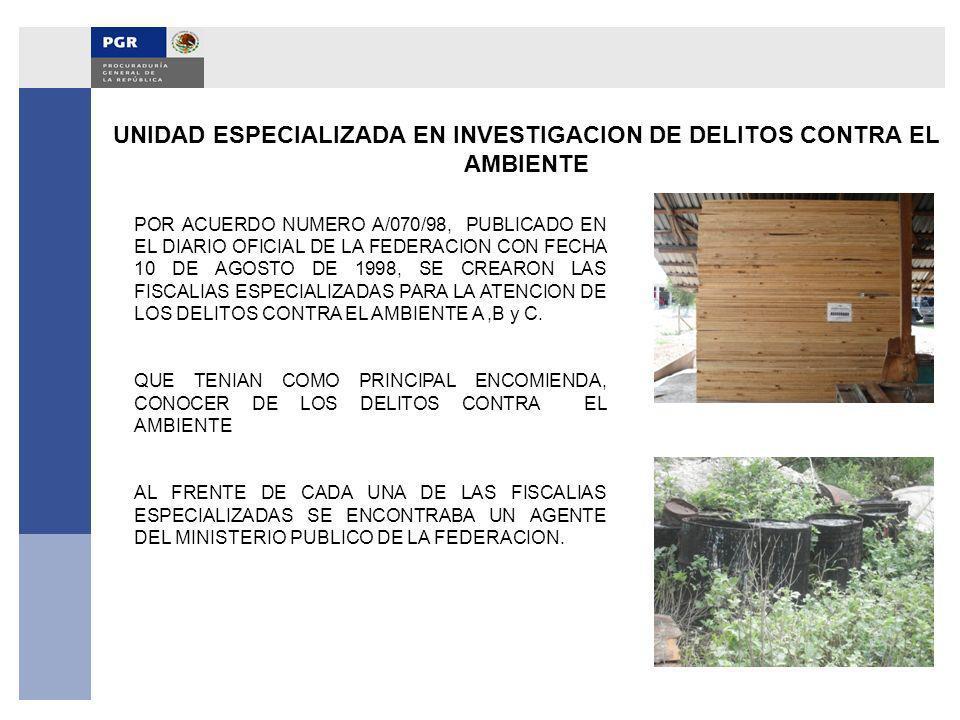 UNIDAD ESPECIALIZADA EN INVESTIGACION DE DELITOS CONTRA EL AMBIENTE POR ACUERDO NUMERO A/070/98, PUBLICADO EN EL DIARIO OFICIAL DE LA FEDERACION CON F