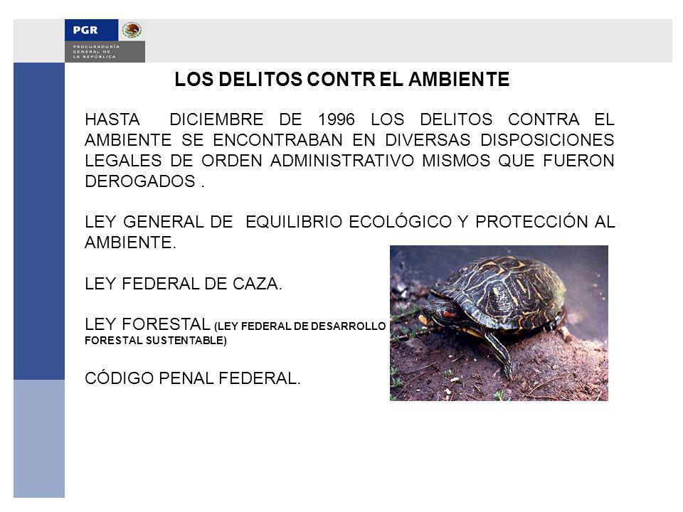 LOS DELITOS CONTR EL AMBIENTE HASTA DICIEMBRE DE 1996 LOS DELITOS CONTRA EL AMBIENTE SE ENCONTRABAN EN DIVERSAS DISPOSICIONES LEGALES DE ORDEN ADMINIS