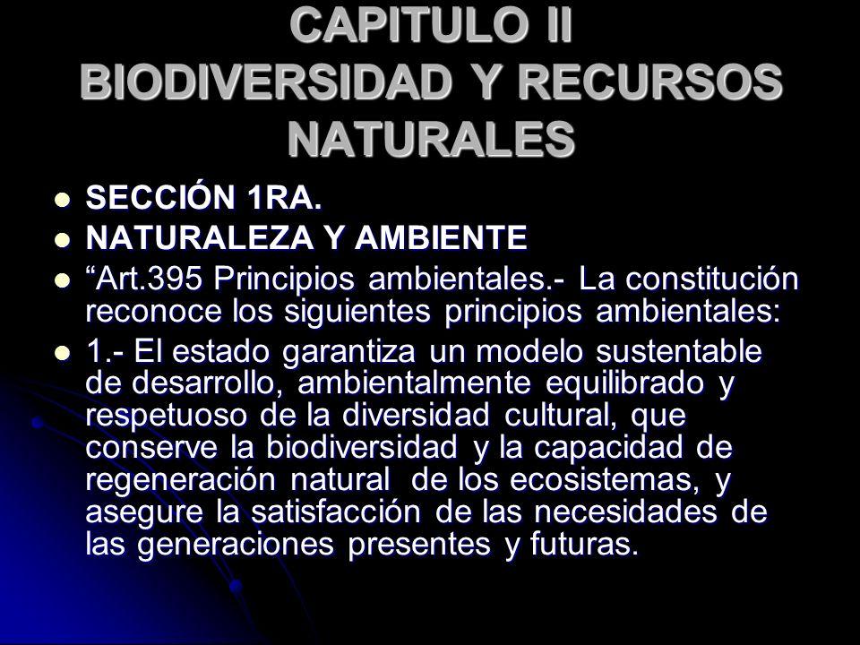 CAPITULO II BIODIVERSIDAD Y RECURSOS NATURALES SECCIÓN 1RA. SECCIÓN 1RA. NATURALEZA Y AMBIENTE NATURALEZA Y AMBIENTE Art.395 Principios ambientales.-