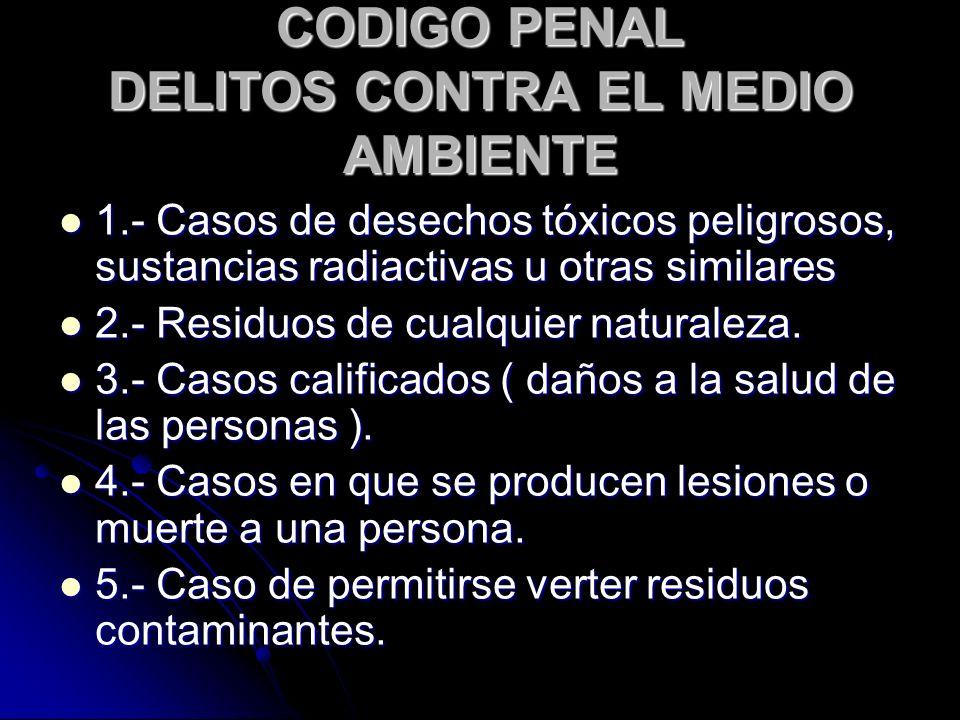 CODIGO PENAL DELITOS CONTRA EL MEDIO AMBIENTE 1.- Casos de desechos tóxicos peligrosos, sustancias radiactivas u otras similares 1.- Casos de desechos