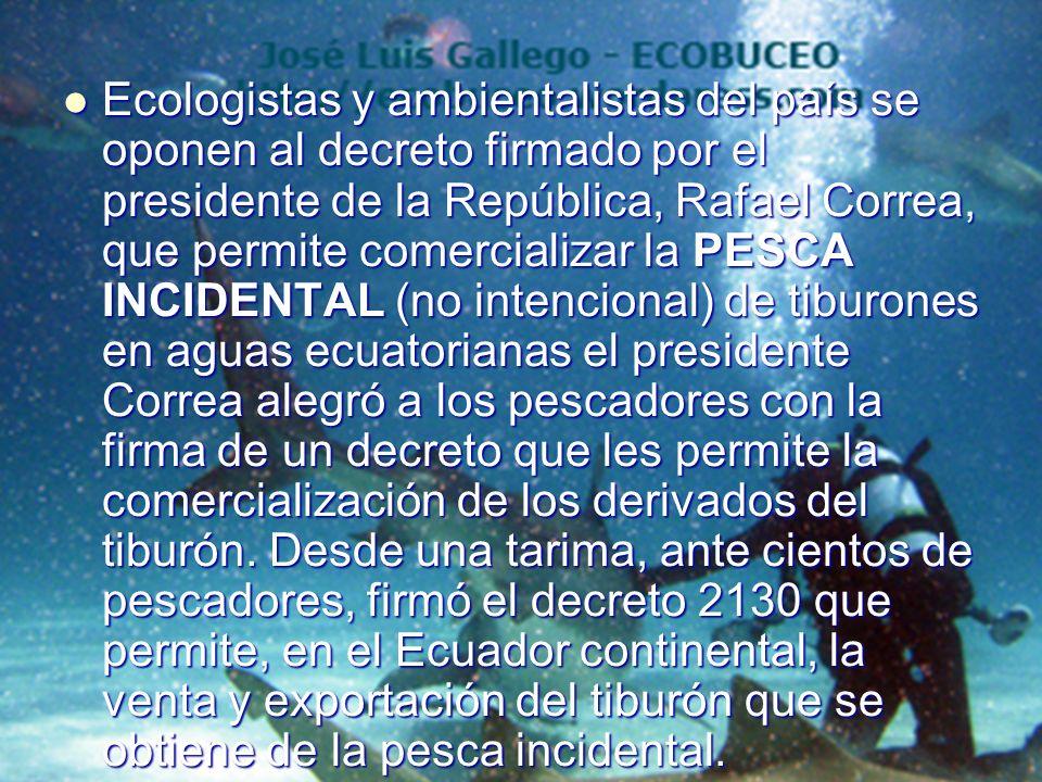 Ecologistas y ambientalistas del país se oponen al decreto firmado por el presidente de la República, Rafael Correa, que permite comercializar la PESC