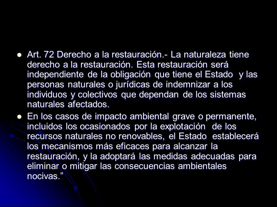 Art. 72 Derecho a la restauración.- La naturaleza tiene derecho a la restauración. Esta restauración será independiente de la obligación que tiene el