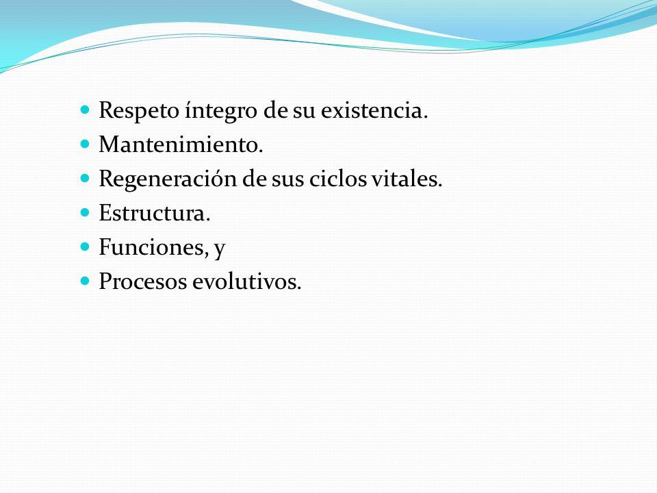 Respeto íntegro de su existencia. Mantenimiento. Regeneración de sus ciclos vitales. Estructura. Funciones, y Procesos evolutivos.