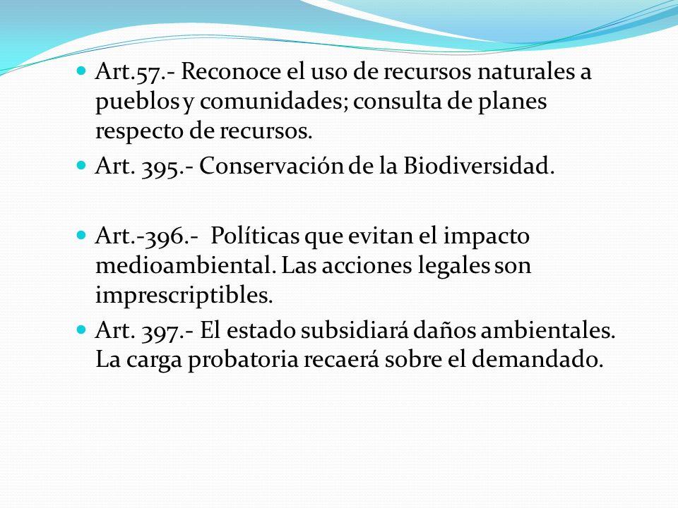 Art.57.- Reconoce el uso de recursos naturales a pueblos y comunidades; consulta de planes respecto de recursos. Art. 395.- Conservación de la Biodive