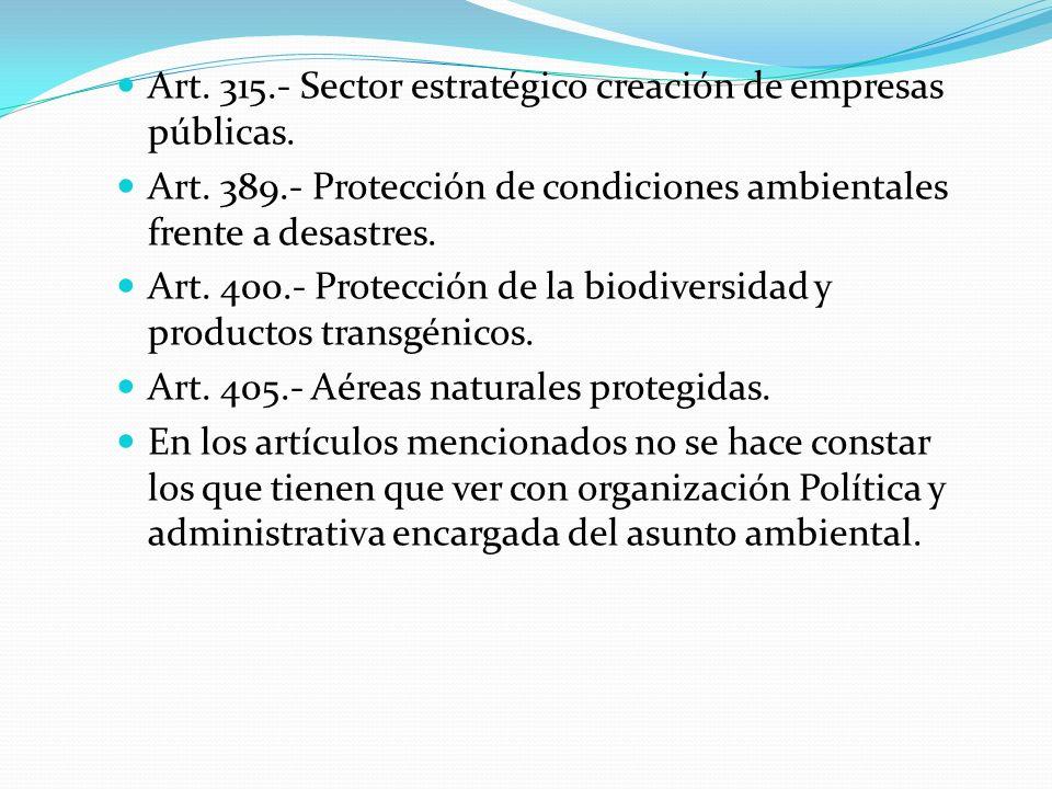 Art. 315.- Sector estratégico creación de empresas públicas. Art. 389.- Protección de condiciones ambientales frente a desastres. Art. 400.- Protecció