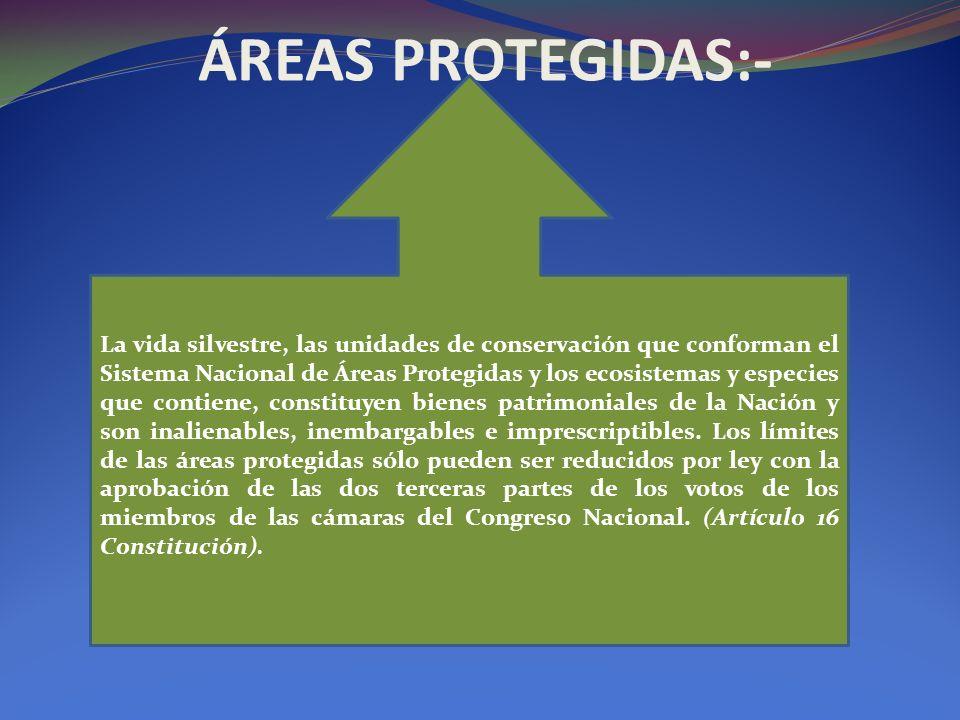 ÁREAS PROTEGIDAS:- La vida silvestre, las unidades de conservación que conforman el Sistema Nacional de Áreas Protegidas y los ecosistemas y especies