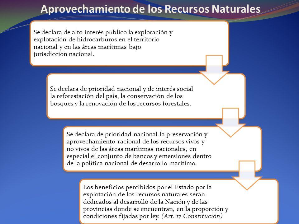 Aprovechamiento de los Recursos Naturales Se declara de alto interés público la exploración y explotación de hidrocarburos en el territorio nacional y