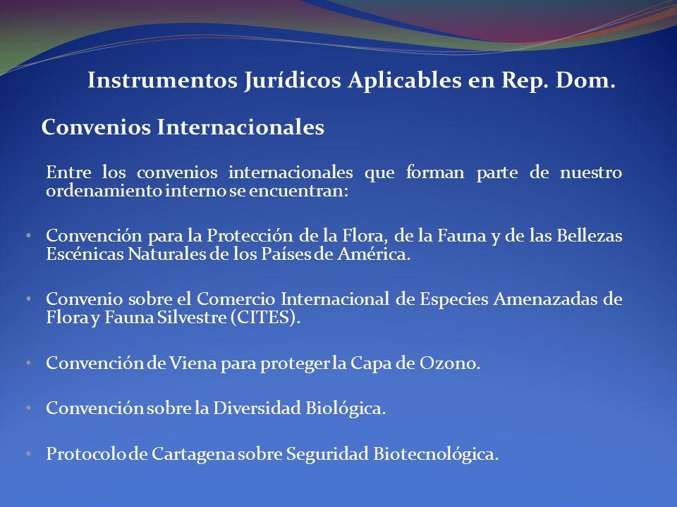 Instrumentos Jurídicos Aplicables en Rep. Dom. Convenios Internacionales Entre los convenios internacionales que forman parte de nuestro ordenamiento