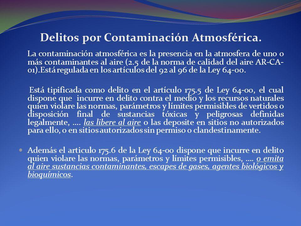Delitos por Contaminación Atmosférica. La contaminación atmosférica es la presencia en la atmosfera de uno o más contaminantes al aire (2.5 de la norm