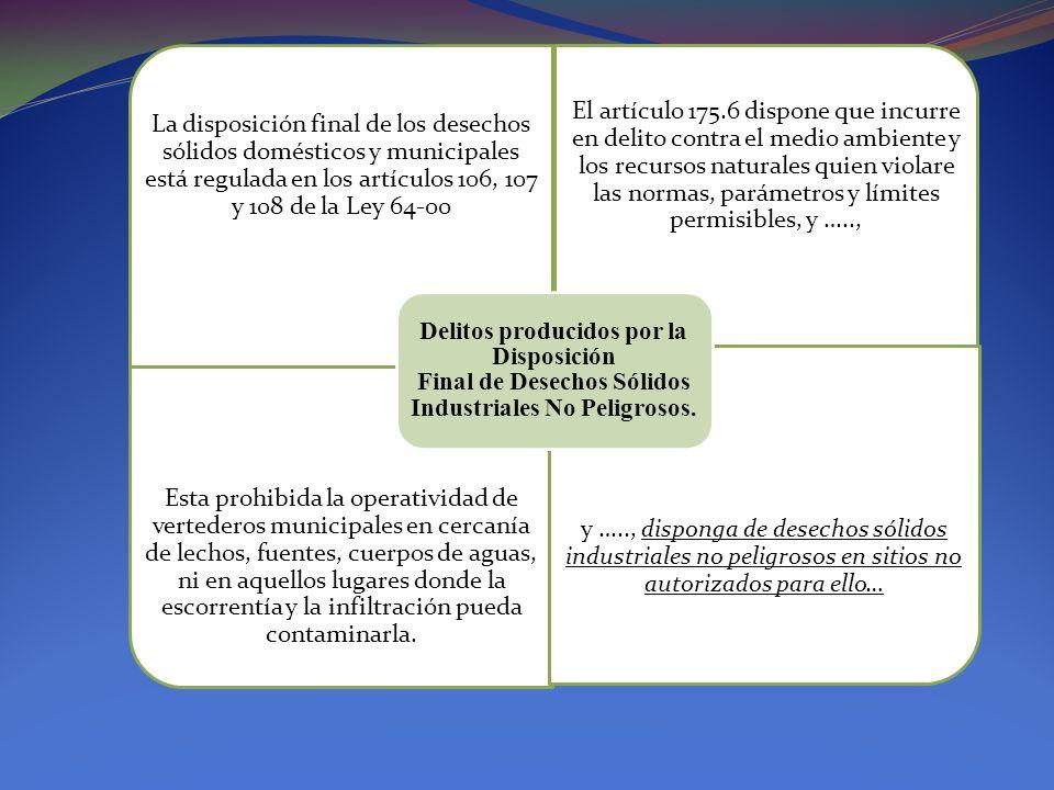 La disposición final de los desechos sólidos domésticos y municipales está regulada en los artículos 106, 107 y 108 de la Ley 64-00 El artículo 175.6