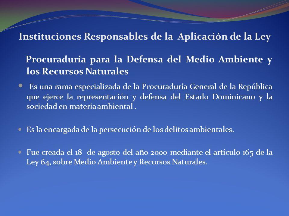 Instituciones Responsables de la Aplicación de la Ley Atribuciones de la Procuraduría para la Defensa del Medio Ambiente.