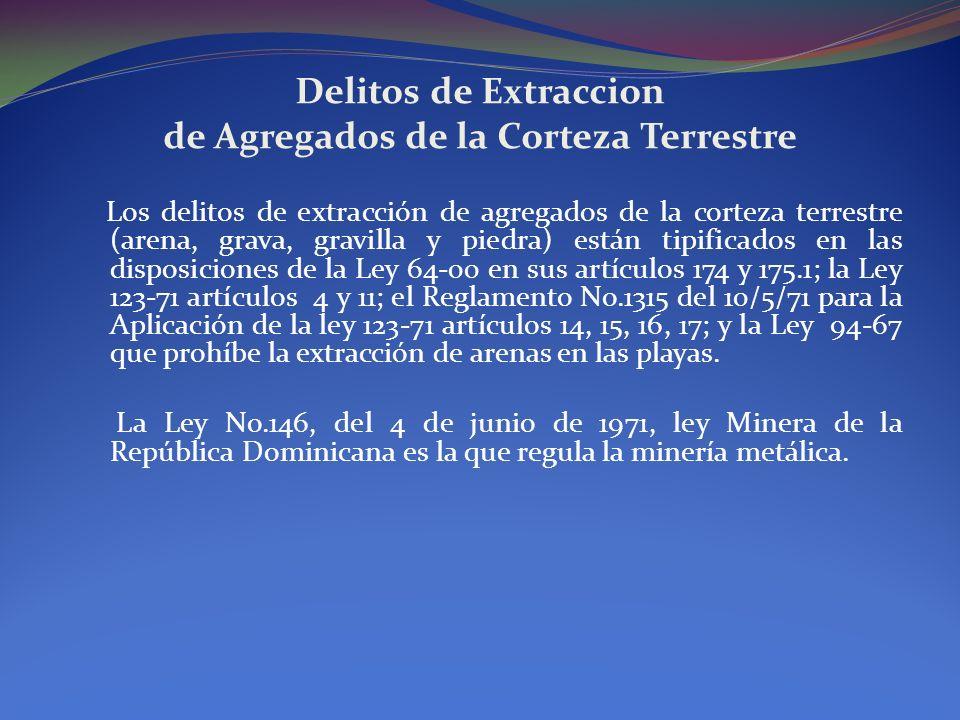 Delitos de Extraccion de Agregados de la Corteza Terrestre Los delitos de extracción de agregados de la corteza terrestre (arena, grava, gravilla y pi
