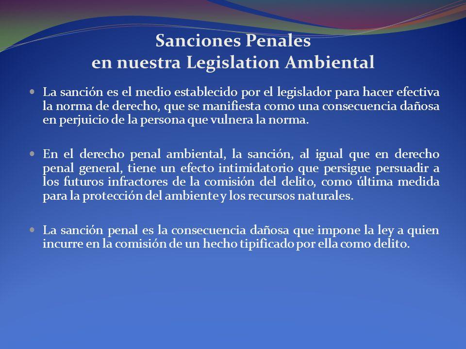 Sanciones Penales en nuestra Legislation Ambiental La sanción es el medio establecido por el legislador para hacer efectiva la norma de derecho, que s