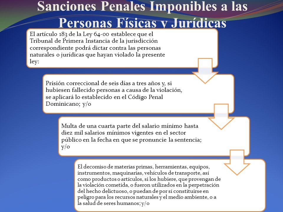 Sanciones Penales Imponibles a las Personas Físicas y Jurídicas El artículo 183 de la Ley 64-00 establece que el Tribunal de Primera Instancia de la j