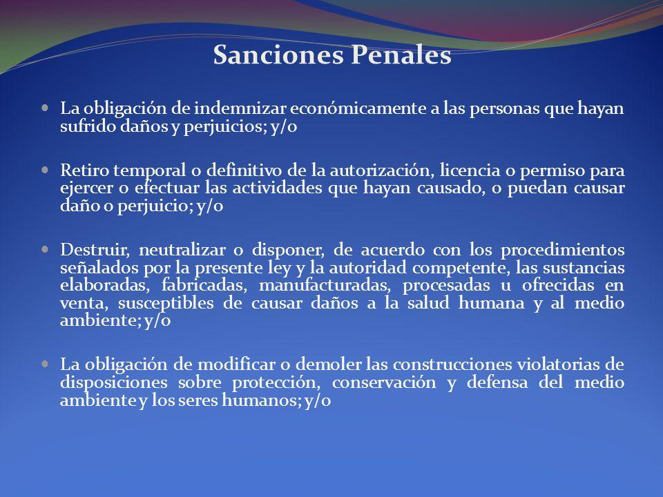 Sanciones Penales La obligación de indemnizar económicamente a las personas que hayan sufrido daños y perjuicios; y/o Retiro temporal o definitivo de