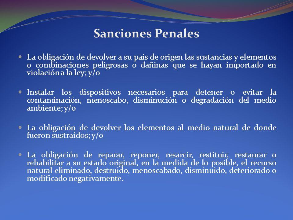 Sanciones Penales La obligación de devolver a su país de origen las sustancias y elementos o combinaciones peligrosas o dañinas que se hayan importado
