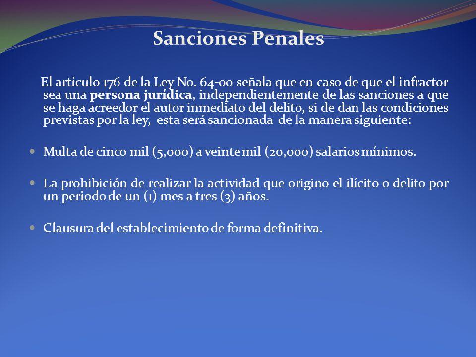 Sanciones Penales El artículo 176 de la Ley No. 64-00 señala que en caso de que el infractor sea una persona jurídica, independientemente de las sanci