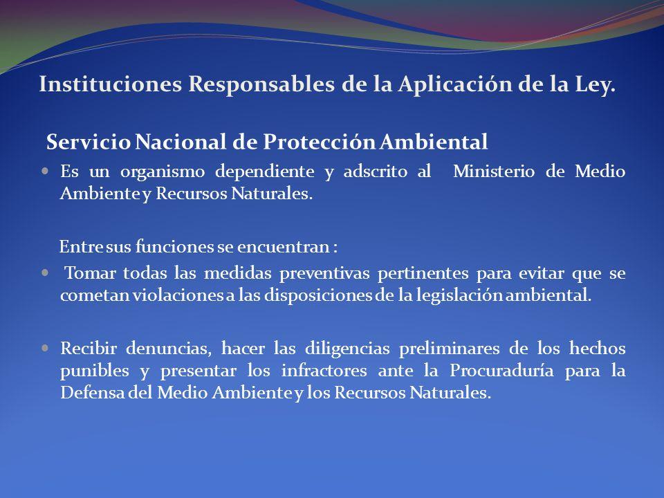 Instituciones Responsables de la Aplicación de la Ley. Servicio Nacional de Protección Ambiental Es un organismo dependiente y adscrito al Ministerio