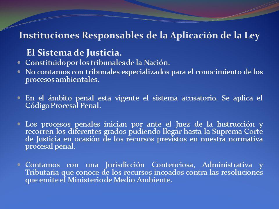 Instituciones Responsables de la Aplicación de la Ley El Sistema de Justicia. Constituido por los tribunales de la Nación. No contamos con tribunales