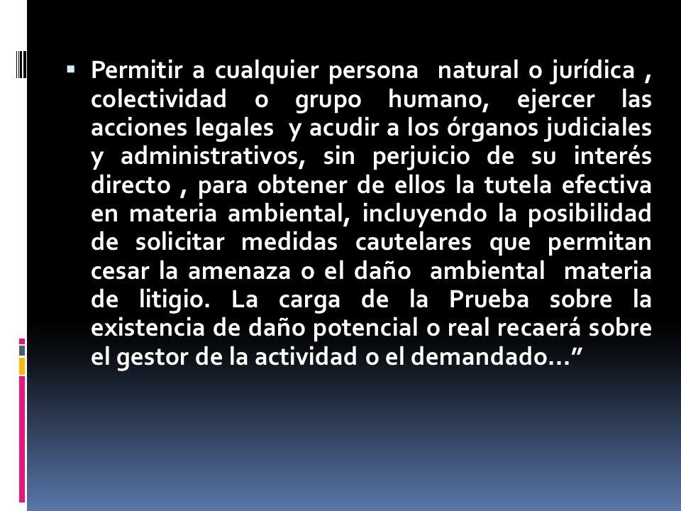 Permitir a cualquier persona natural o jurídica, colectividad o grupo humano, ejercer las acciones legales y acudir a los órganos judiciales y adminis