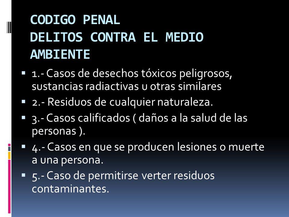CODIGO PENAL DELITOS CONTRA EL MEDIO AMBIENTE 1.- Casos de desechos tóxicos peligrosos, sustancias radiactivas u otras similares 2.- Residuos de cualq
