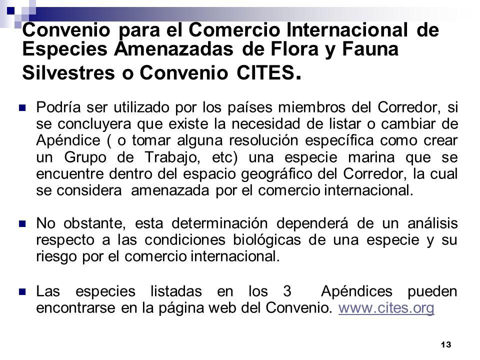 13 Convenio para el Comercio Internacional de Especies Amenazadas de Flora y Fauna Silvestres o Convenio CITES. Podría ser utilizado por los países mi