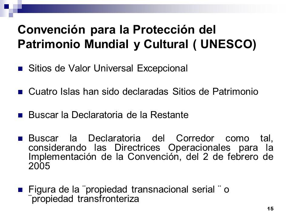 15 Convención para la Protección del Patrimonio Mundial y Cultural ( UNESCO) Sitios de Valor Universal Excepcional Cuatro Islas han sido declaradas Si
