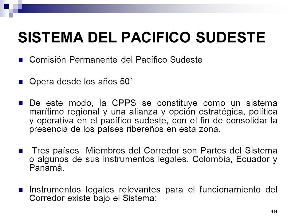 19 SISTEMA DEL PACIFICO SUDESTE Comisión Permanente del Pacífico Sudeste Opera desde los años 50´ De este modo, la CPPS se constituye como un sistema
