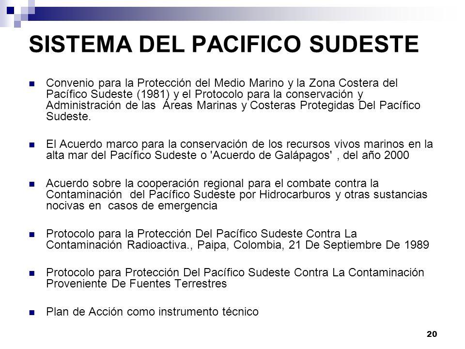 20 SISTEMA DEL PACIFICO SUDESTE Convenio para la Protección del Medio Marino y la Zona Costera del Pacífico Sudeste (1981) y el Protocolo para la cons