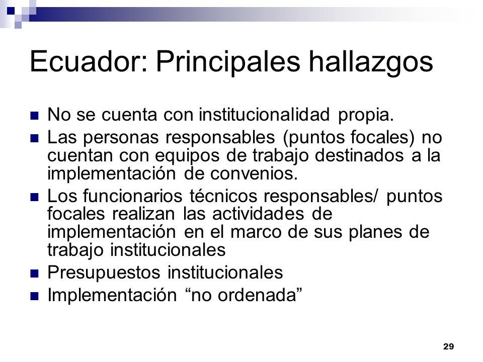 29 Ecuador: Principales hallazgos No se cuenta con institucionalidad propia. Las personas responsables (puntos focales) no cuentan con equipos de trab