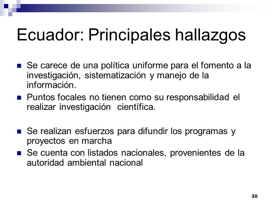 30 Ecuador: Principales hallazgos Se carece de una política uniforme para el fomento a la investigación, sistematización y manejo de la información. P
