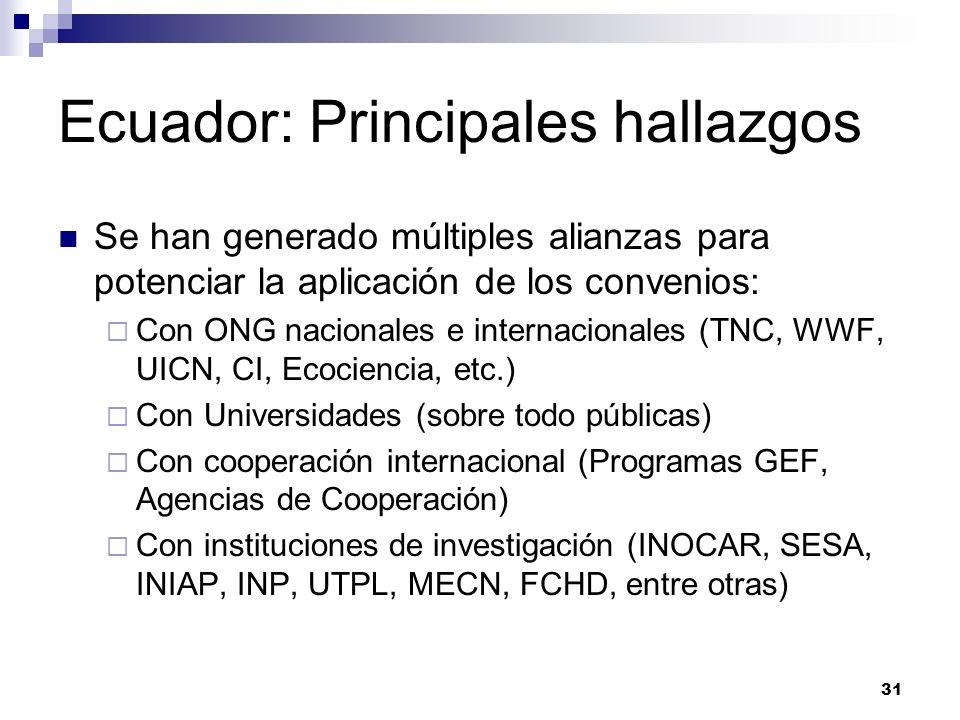 31 Ecuador: Principales hallazgos Se han generado múltiples alianzas para potenciar la aplicación de los convenios: Con ONG nacionales e internacional