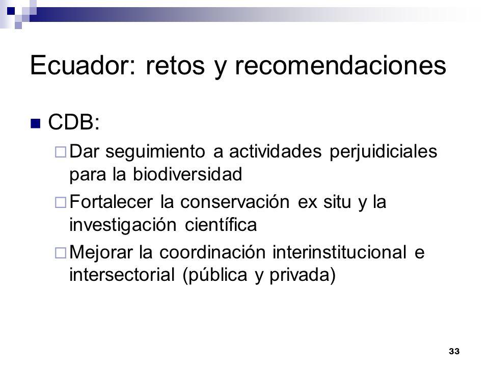 33 Ecuador: retos y recomendaciones CDB: Dar seguimiento a actividades perjuidiciales para la biodiversidad Fortalecer la conservación ex situ y la in