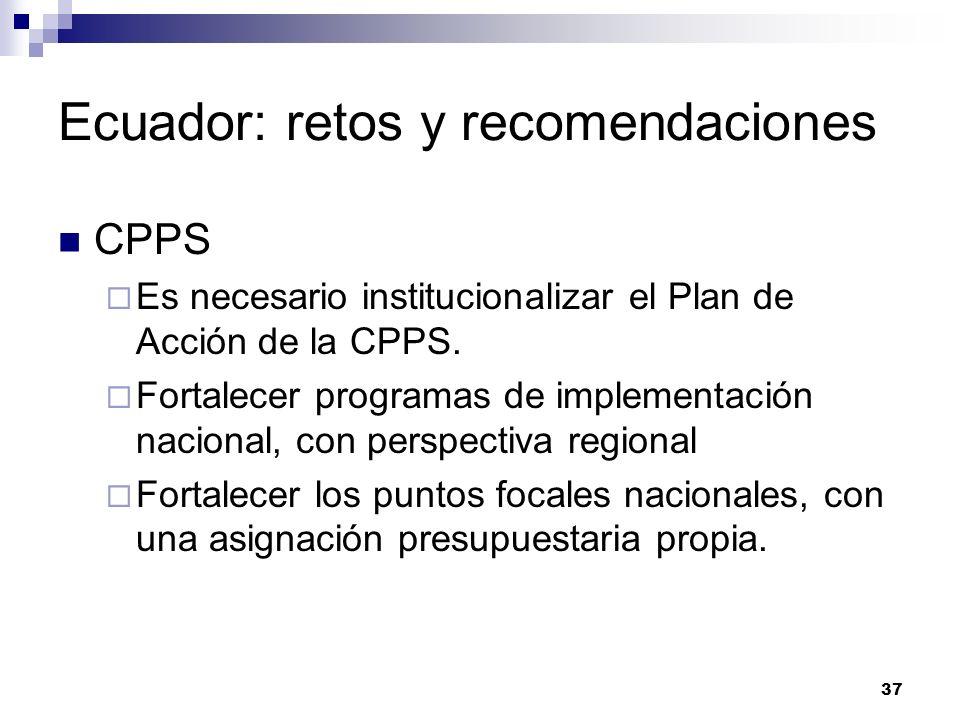 37 Ecuador: retos y recomendaciones CPPS Es necesario institucionalizar el Plan de Acción de la CPPS. Fortalecer programas de implementación nacional,