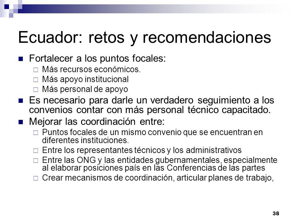 38 Ecuador: retos y recomendaciones Fortalecer a los puntos focales: Más recursos económicos. Más apoyo institucional Más personal de apoyo Es necesar