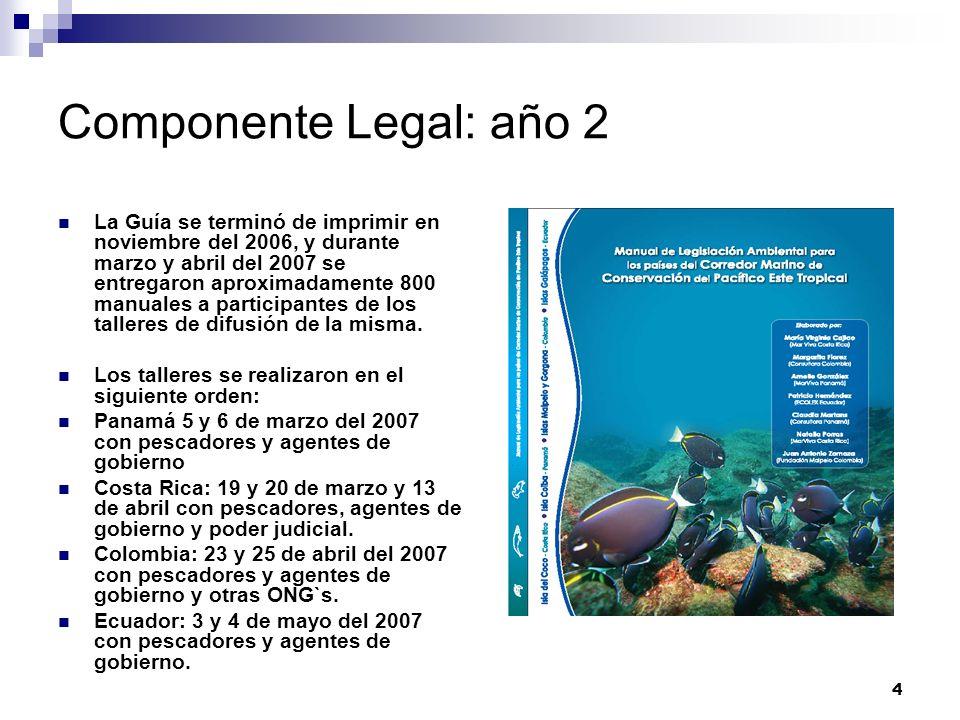 4 Componente Legal: año 2 La Guía se terminó de imprimir en noviembre del 2006, y durante marzo y abril del 2007 se entregaron aproximadamente 800 man