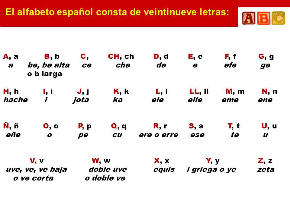 El alfabeto español consta de veintinueve letras: A, a B, b C, CH, ch D, d E, e F, f G, g a be, be alta ce che de e efe ge o b larga H, h I, i J, j K,