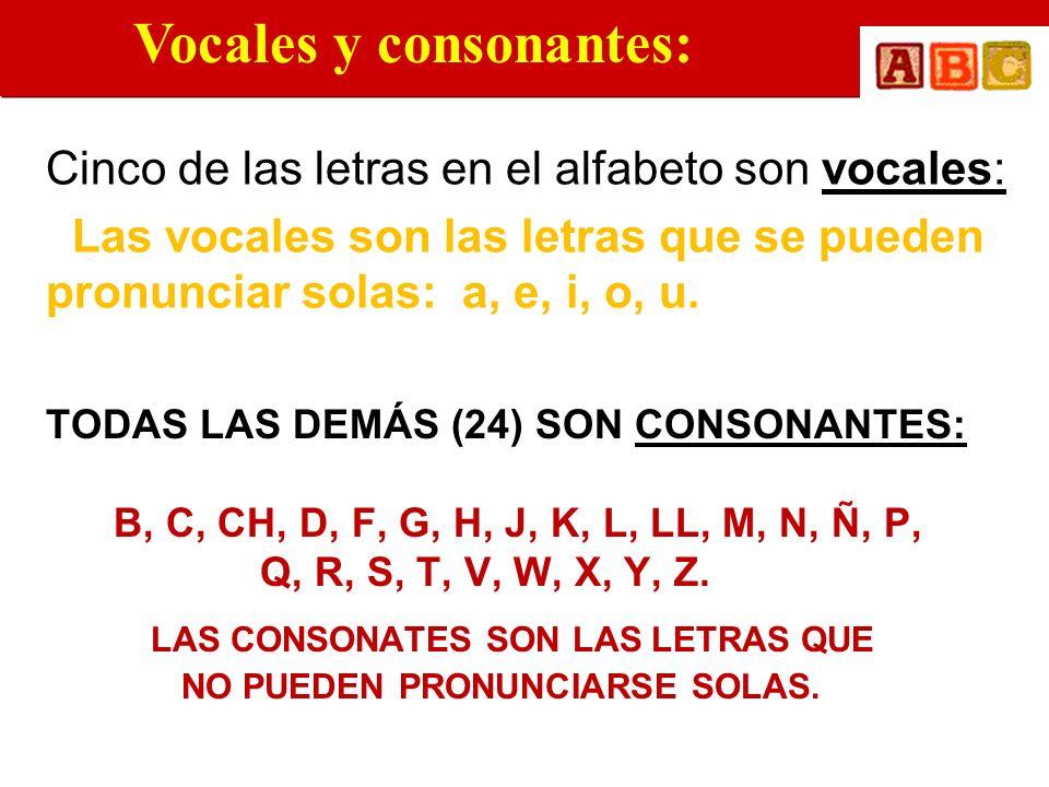 TODAS LAS DEMÁS (24) SON CONSONANTES: B, C, CH, D, F, G, H, J, K, L, LL, M, N, Ñ, P, Q, R, S, T, V, W, X, Y, Z. LAS CONSONATES SON LAS LETRAS QUE NO P