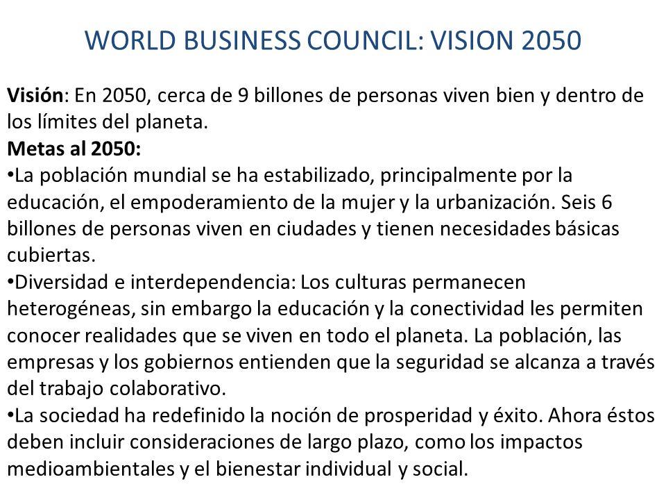 WORLD BUSINESS COUNCIL: VISION 2050 Visión: En 2050, cerca de 9 billones de personas viven bien y dentro de los límites del planeta.
