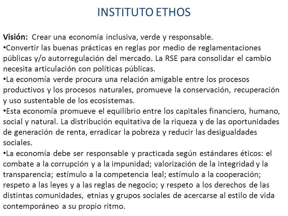 INSTITUTO ETHOS Visión: Crear una economía inclusiva, verde y responsable.