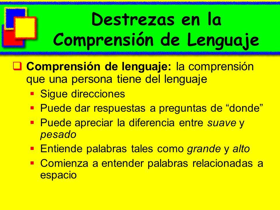 Destrezas en la Comprensión de Lenguaje Comprensión de lenguaje: la comprensión que una persona tiene del lenguaje Sigue direcciones Puede dar respues