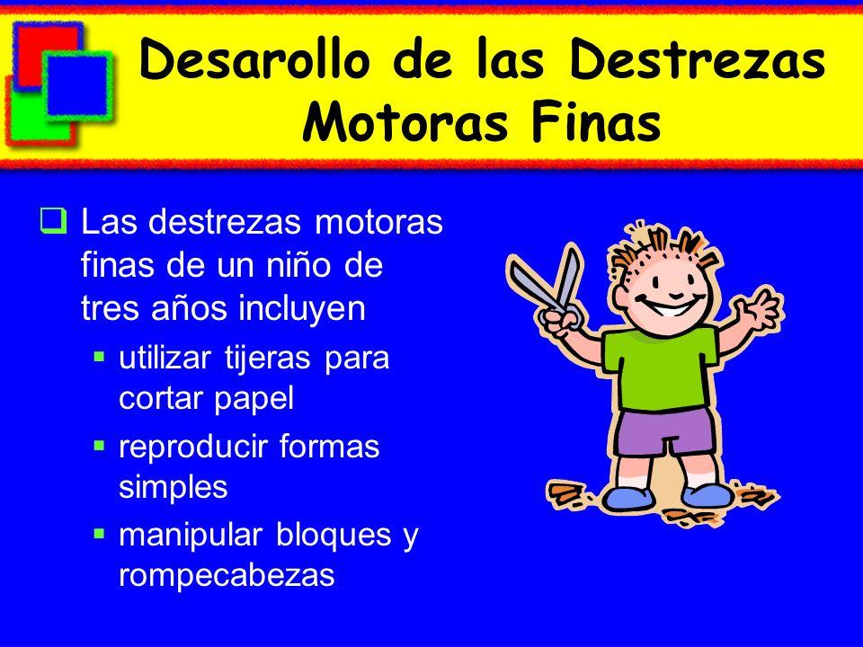 Desarollo de las Destrezas Motoras Finas Las destrezas motoras finas de un niño de tres años incluyen utilizar tijeras para cortar papel reproducir formas simples manipular bloques y rompecabezas