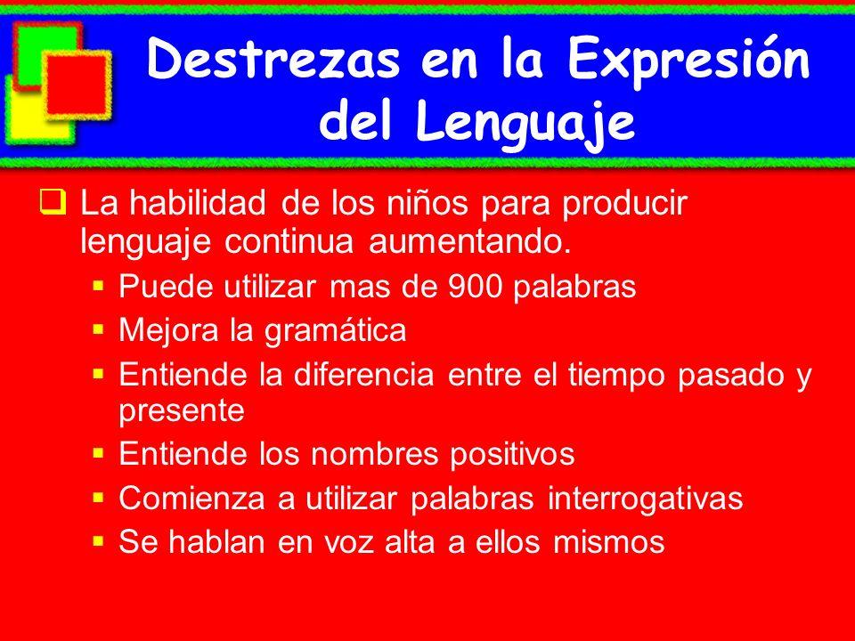 Destrezas en la Expresión del Lenguaje La habilidad de los niños para producir lenguaje continua aumentando. Puede utilizar mas de 900 palabras Mejora
