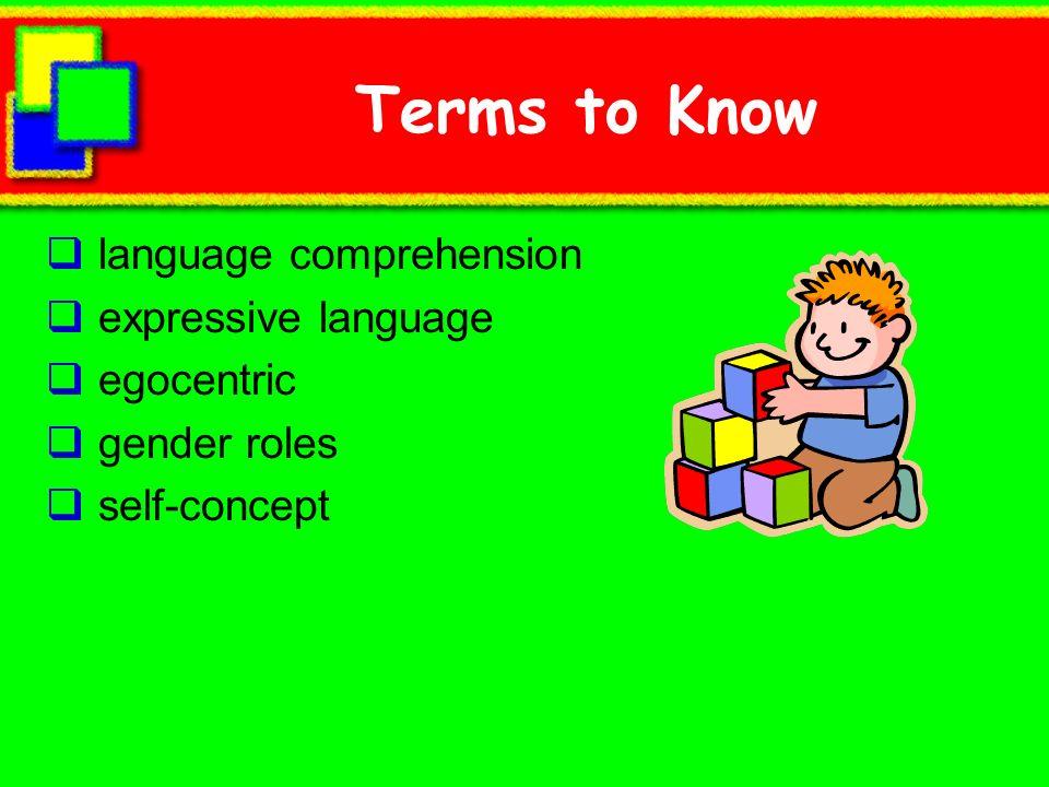 Destrezas en la Comprensión de Lenguaje Comprensión de lenguaje: la comprensión que una persona tiene del lenguaje Sigue direcciones Puede dar respuestas a preguntas de donde Puede apreciar la diferencia entre suave y pesado Entiende palabras tales como grande y alto Comienza a entender palabras relacionadas a espacio
