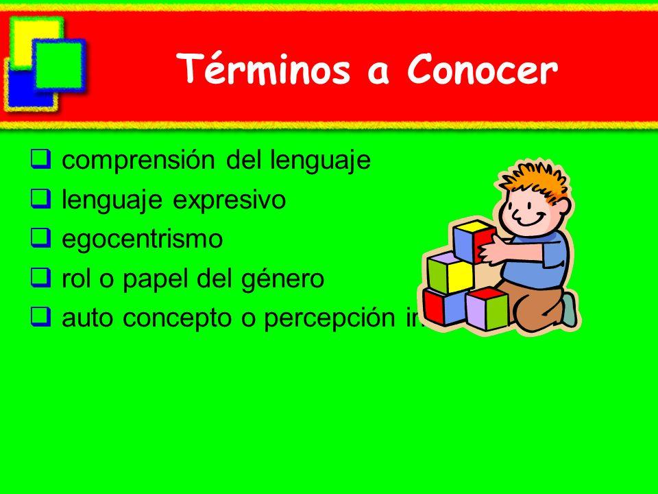 Términos a Conocer comprensión del lenguaje lenguaje expresivo egocentrismo rol o papel del género auto concepto o percepción interna