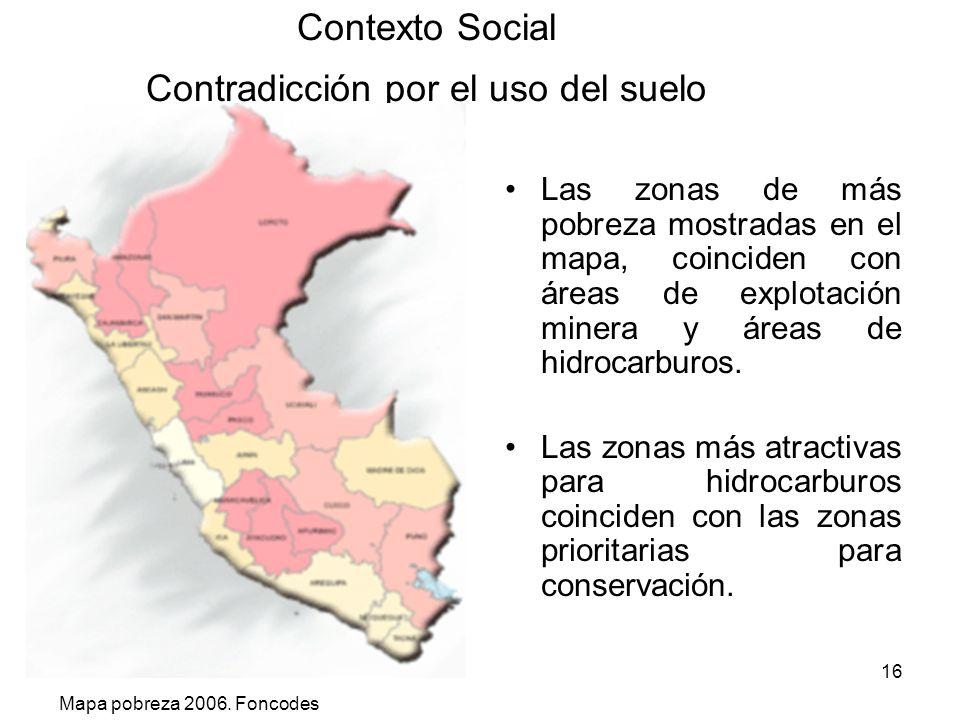 16 Contexto Social Contradicción por el uso del suelo Las zonas de más pobreza mostradas en el mapa, coinciden con áreas de explotación minera y áreas