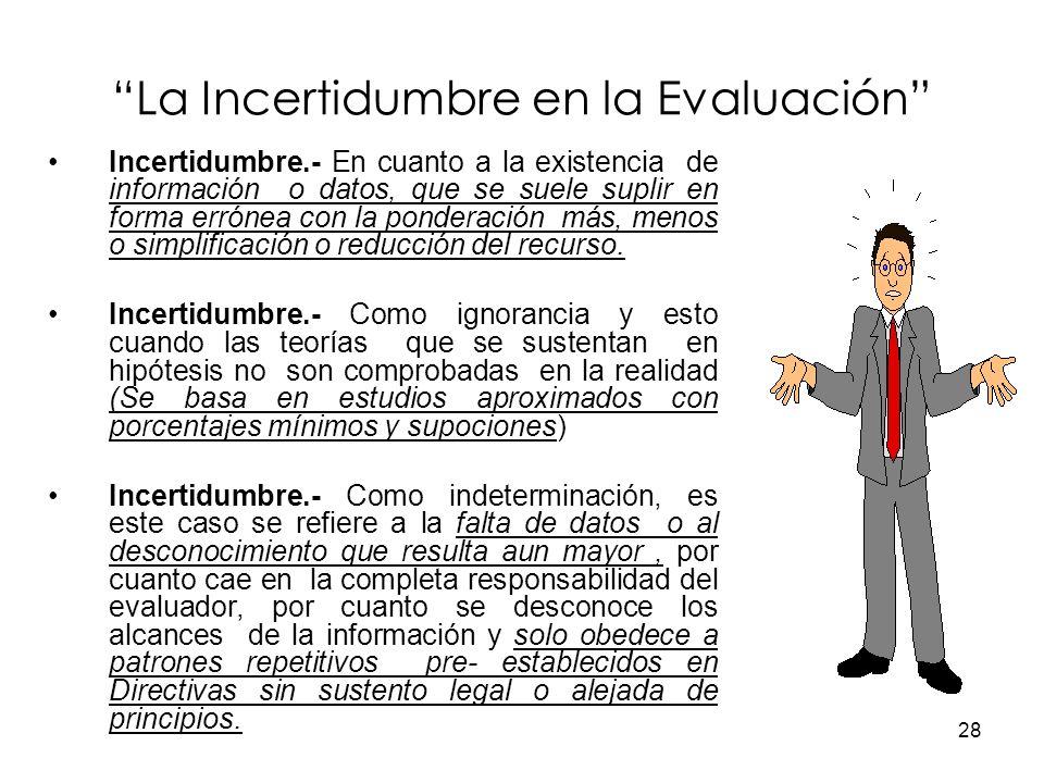 28 La Incertidumbre en la Evaluación Incertidumbre.- En cuanto a la existencia de información o datos, que se suele suplir en forma errónea con la pon