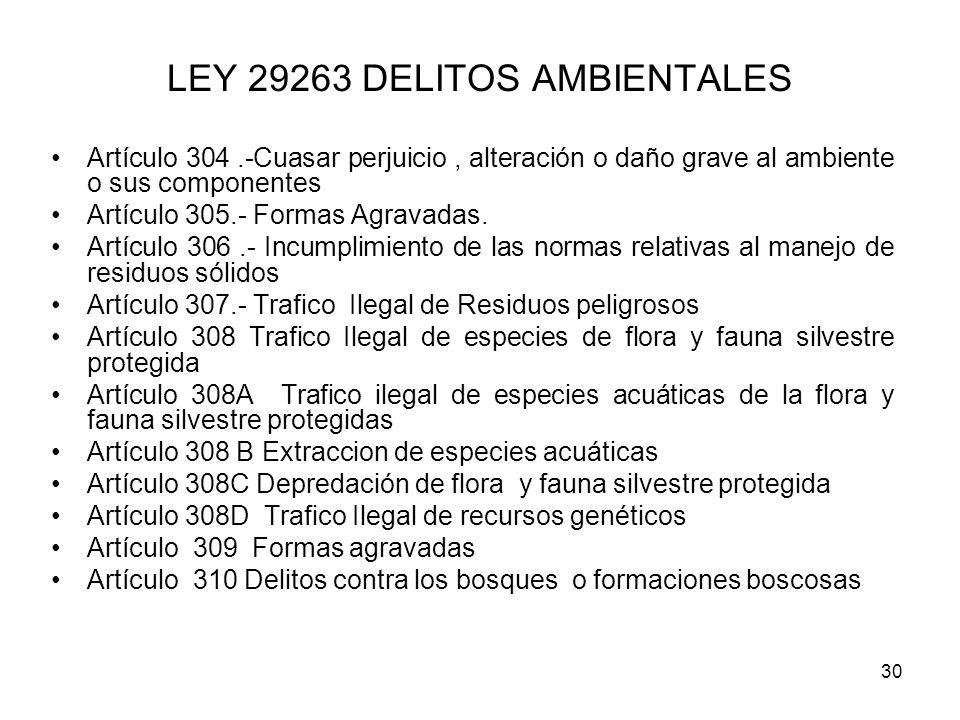 30 LEY 29263 DELITOS AMBIENTALES Artículo 304.-Cuasar perjuicio, alteración o daño grave al ambiente o sus componentes Artículo 305.- Formas Agravadas