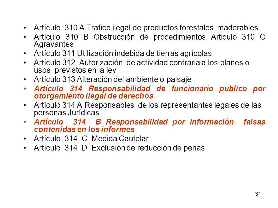 31 Artículo 310 A Trafico ilegal de productos forestales maderables Artículo 310 B Obstrucción de procedimientos Articulo 310 C Agravantes Artículo 31
