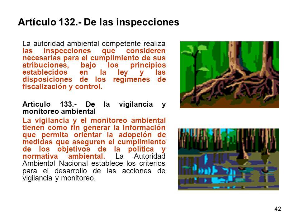 42 Artículo 132.- De las inspecciones La autoridad ambiental competente realiza las inspecciones que consideren necesarias para el cumplimiento de sus